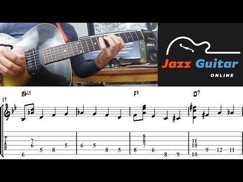 Walking Bass Guitar + Chords - F Blues (Jazz Guitar Lesson)