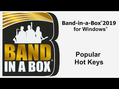 Band-in-a-Box® for Windows: Popular Hot Keys