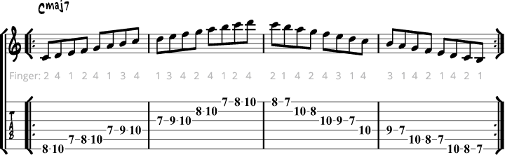 Jazz guitar scales example 1