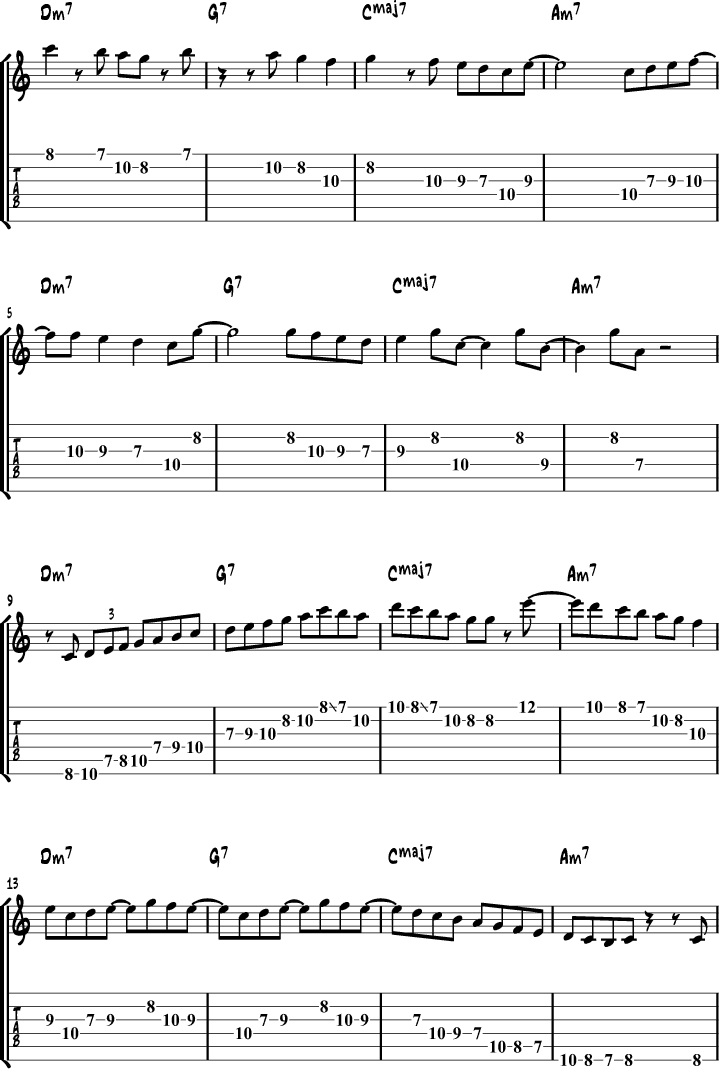 Jazz Guitar Scales Example 6