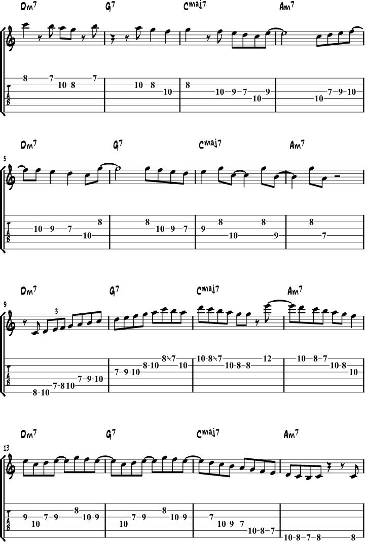 Jazz Guitar Scales Example 6