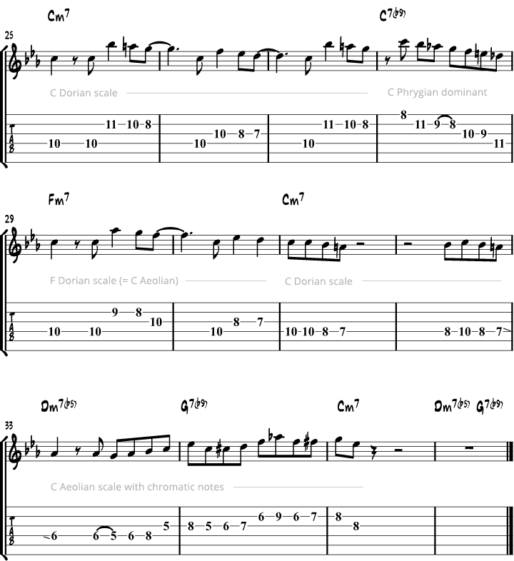 Minor blues scale study page 3