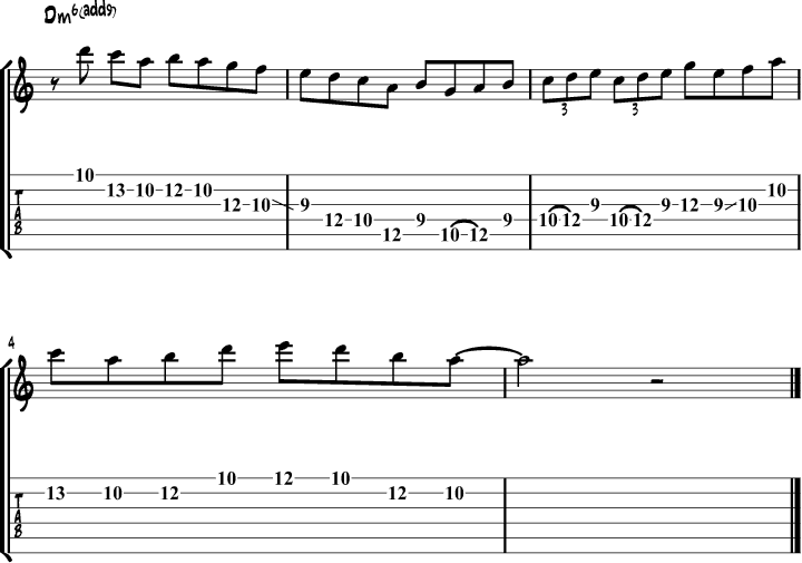 Dorian mode guitar lick