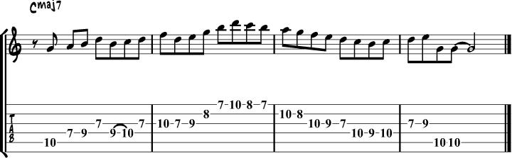 Ionian mode guitar lick