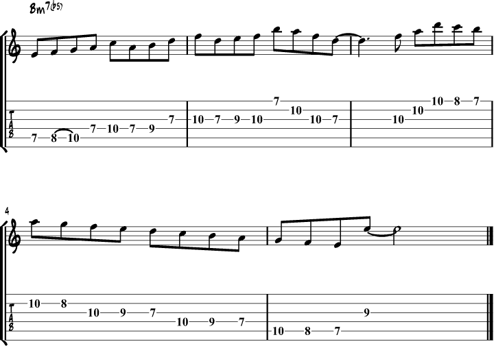 Locrian mode guitar lick