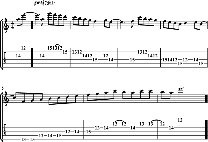 Lydian mode guitar lick