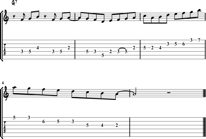 Mixolydian mode guitar lick