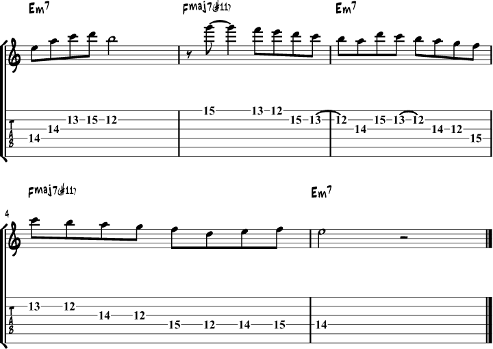 Phrygian mode guitar lick