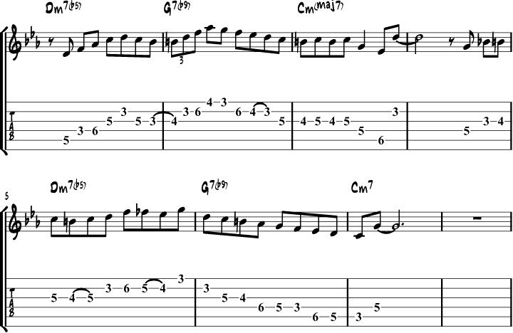 Bebop harmonic minor scale lick