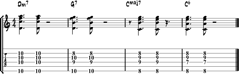 Jazz guitar chord progression 1