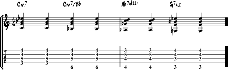 Jazz guitar chord progression 10