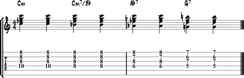 Jazz guitar chord progression 10a
