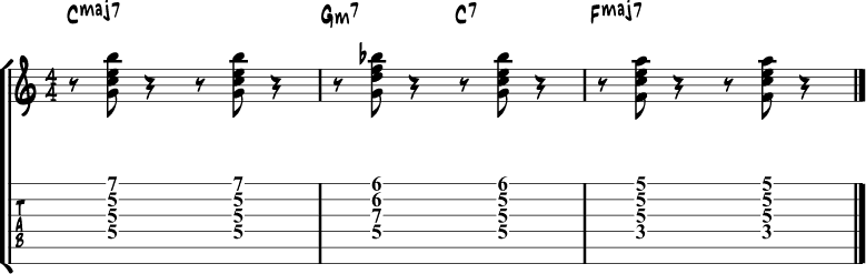 Jazz guitar chord progression 6