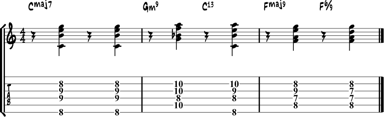 Jazz guitar chord progression 6a