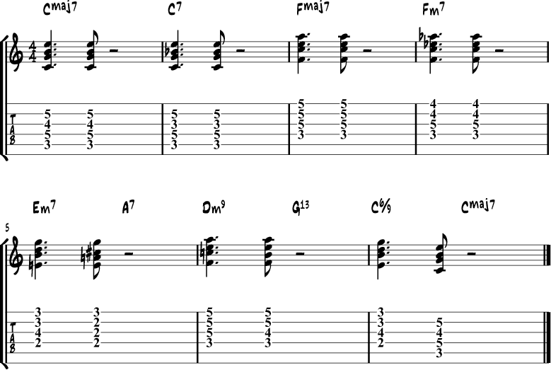 Jazz guitar chord progression 7