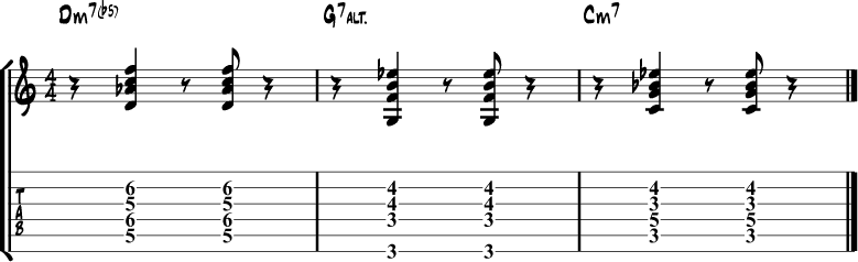 Jazz guitar chord progression 9
