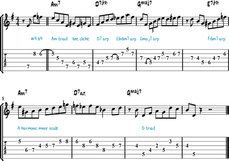 G Major jazz guitar lick 1