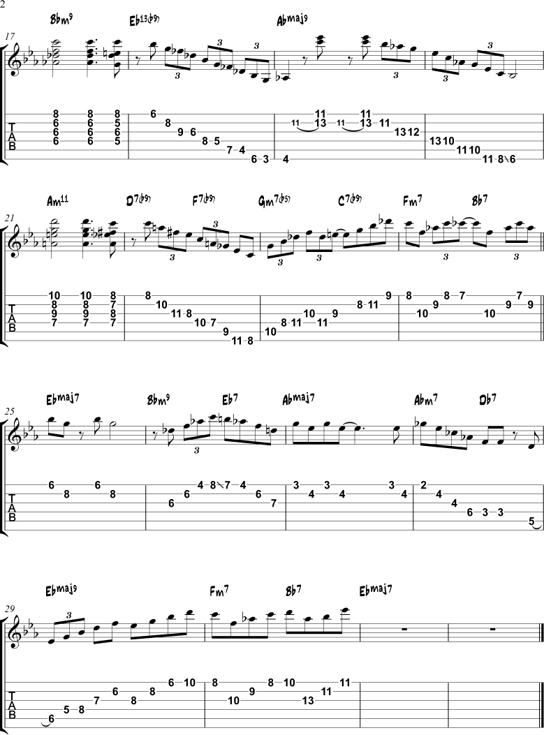Misty Chord Melody Solo Studies Jazz Guitar Online