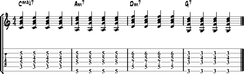 Jazz Guitar Comping Rhythms Example 1