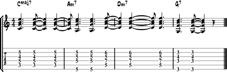 Jazz Guitar Comping Rhythms Example 5