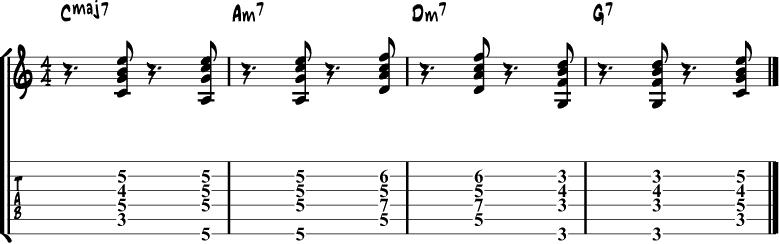 Jazz Guitar Comping Rhythms Example 6