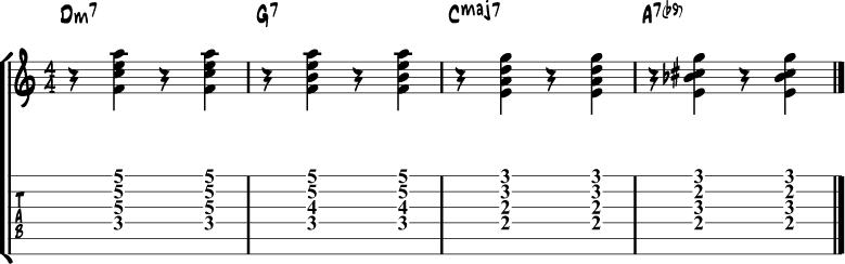 Jazz Guitar Comping Rhythms Example 7