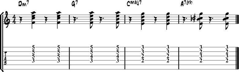 Jazz Guitar Comping Rhythms Example 8