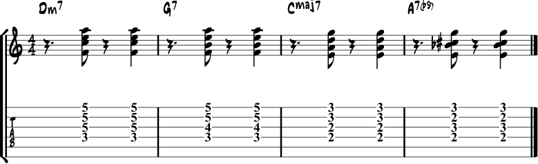 Jazz Guitar Comping Rhythms Example 9