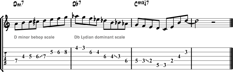 Lydian dominant scale lick 1