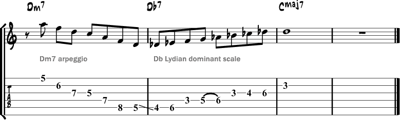 Lydian dominant scale lick 2