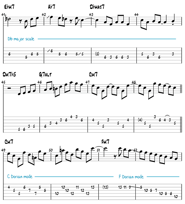Blue Bossa guitar solo page 3 (tabs/notation)