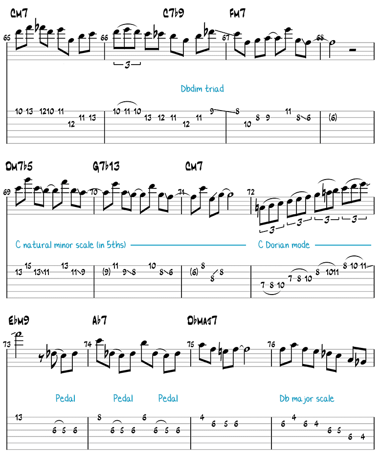 Blue Bossa guitar solo page 5 (tabs/notation)