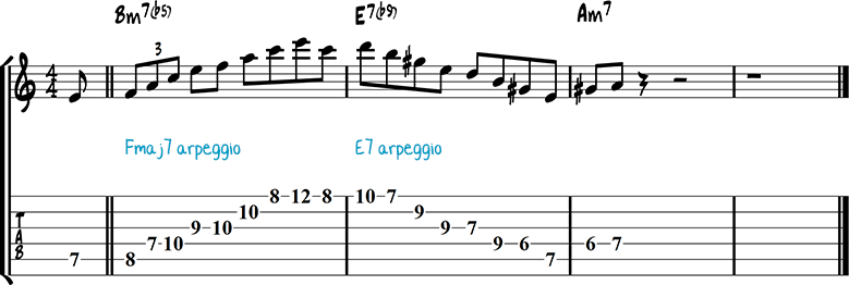 Half-diminished chords example 10