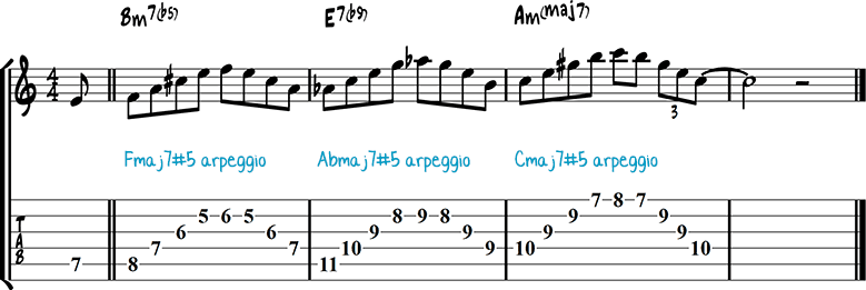 Half-diminished chords example 12