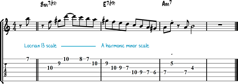 Half-diminished chords example 3