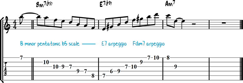 Half-diminished chords example 5