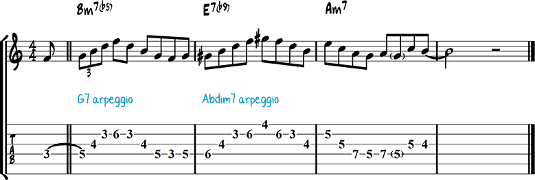 Half-diminished chords example 9