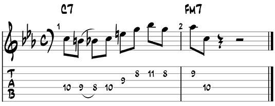 Dominant jazz guitar pattern 1