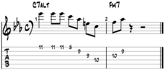 Dominant jazz guitar pattern 2