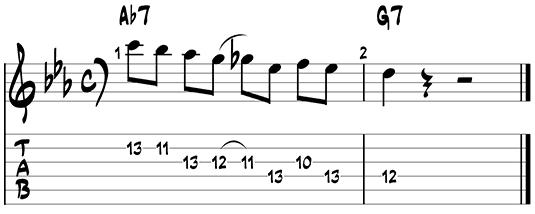 Dominant jazz guitar pattern 3