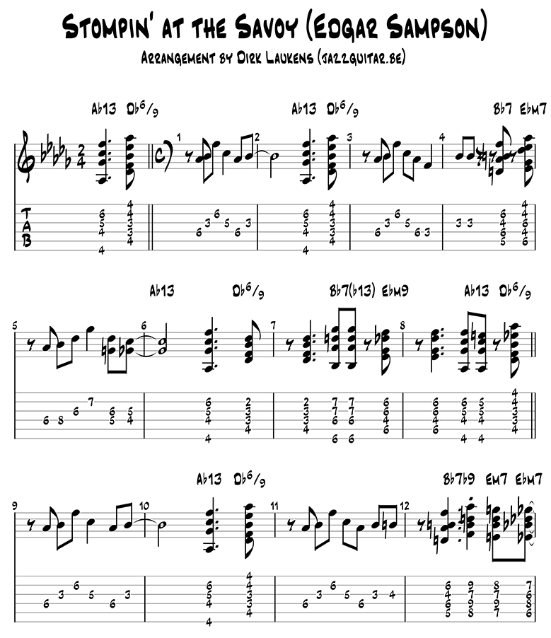 Stompin at the Savoy guitar tabs page 1