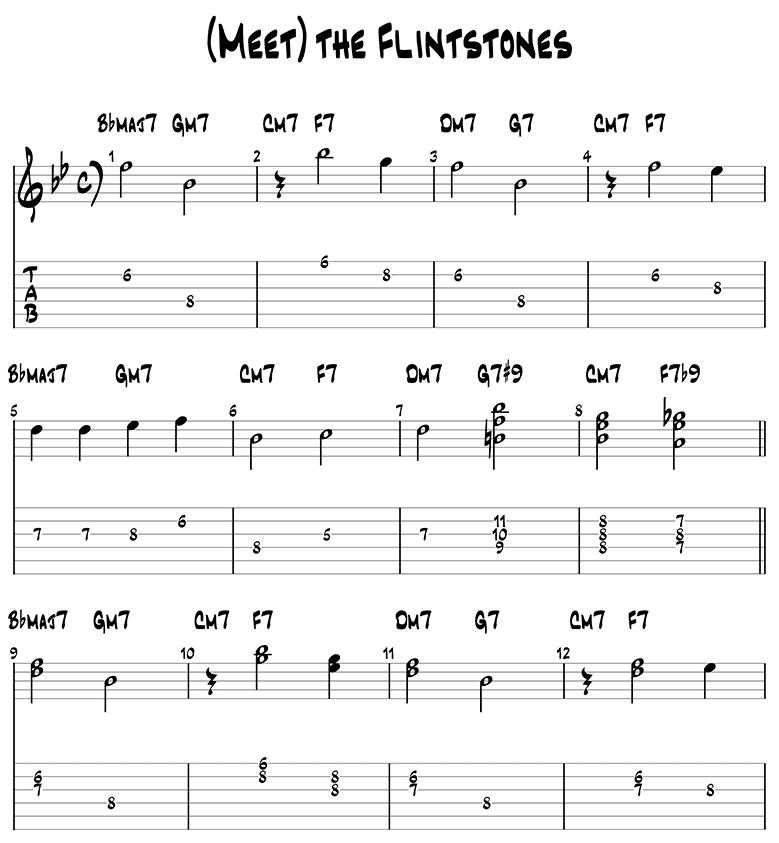 Meet The Flinstones sheet music and guitar tabs 1