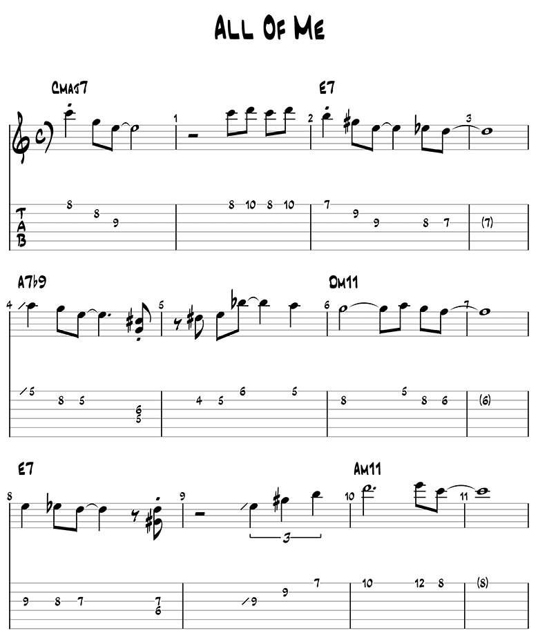 All of Me melody guitar tabs page 1