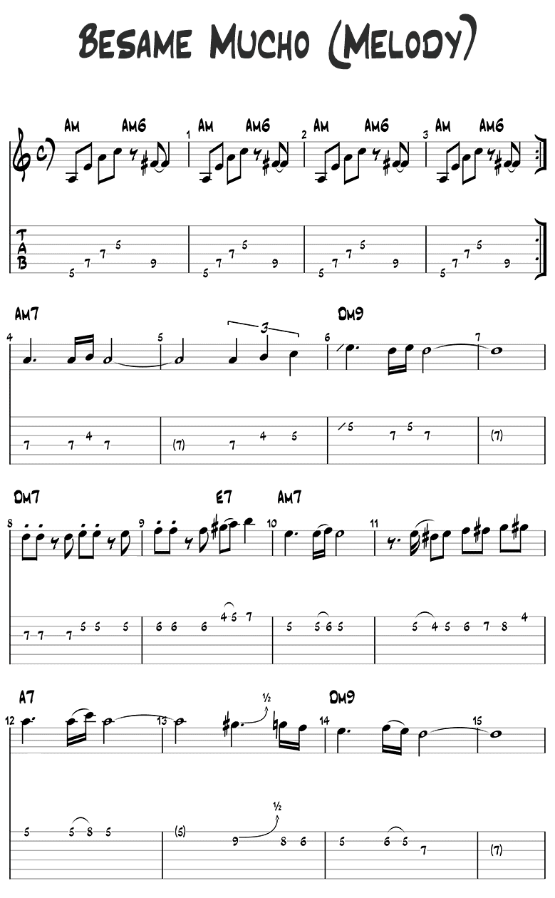 Besame Mucho melody guitar tabs page 1