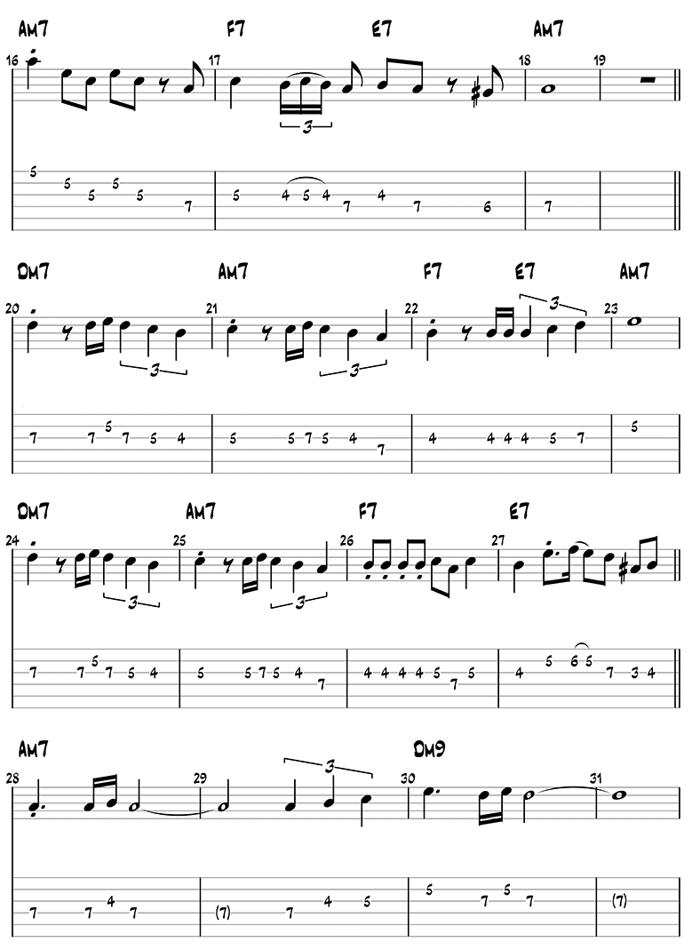 Besame Mucho melody guitar tabs page 2