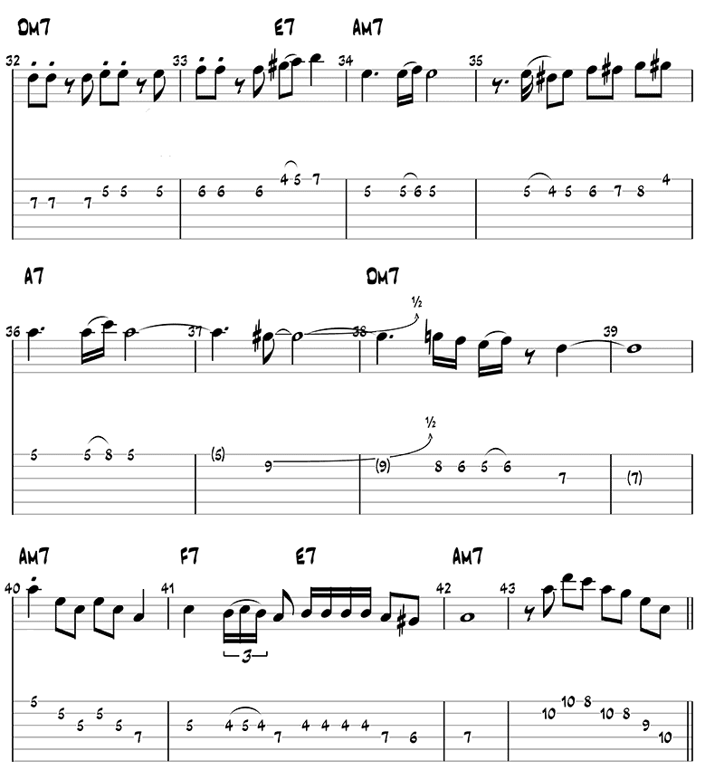 Besame Mucho melody guitar tabs page 3