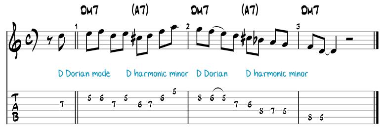 Besame Mucho jazz guitar pattern 1