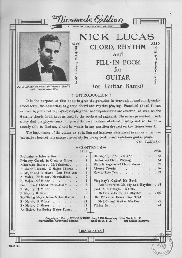 Nick Lucas Chord, Rhythm and Fill-in Book for Guitar-lucas-contents-jpg