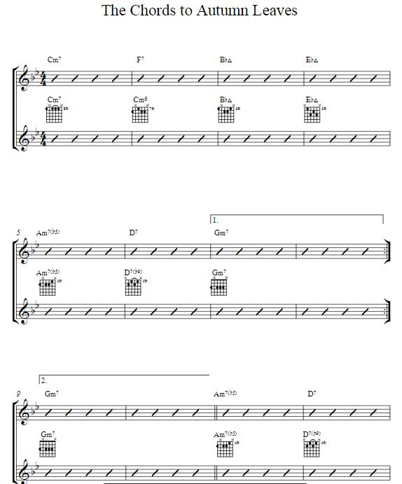 Mickey Baker Course 1, mp3's and videos-autumn-leaves-chord-diagrams-jpg