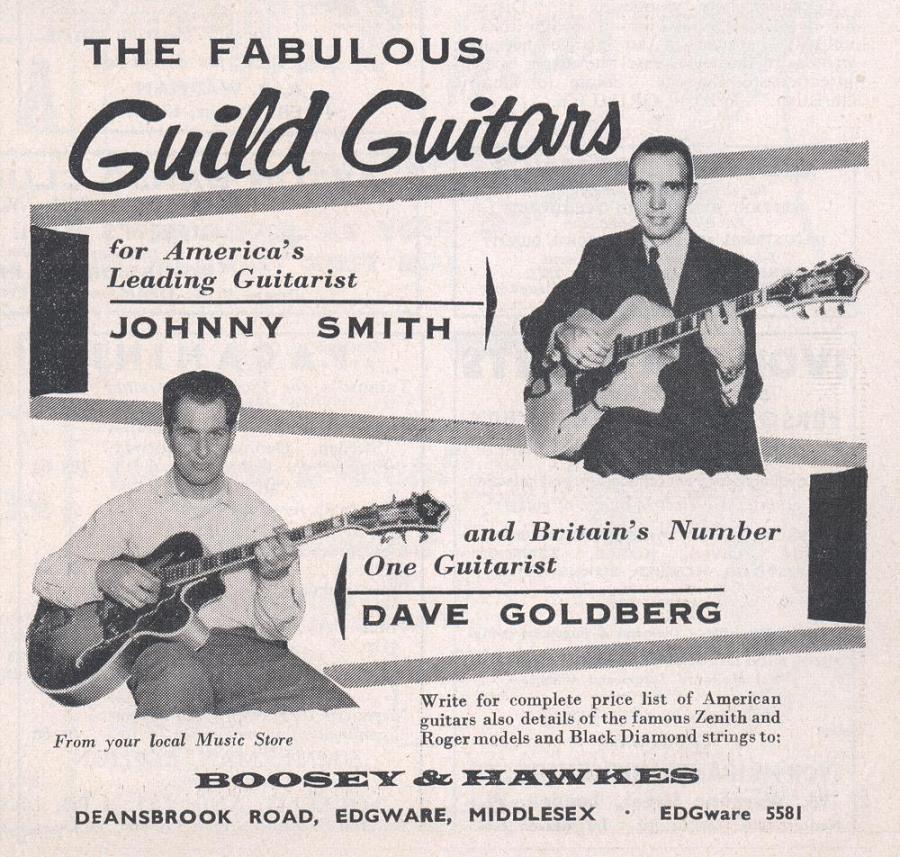 All three decades of the Gibson Johnny Smith-guild-guitars-advertisement-1960-jpg